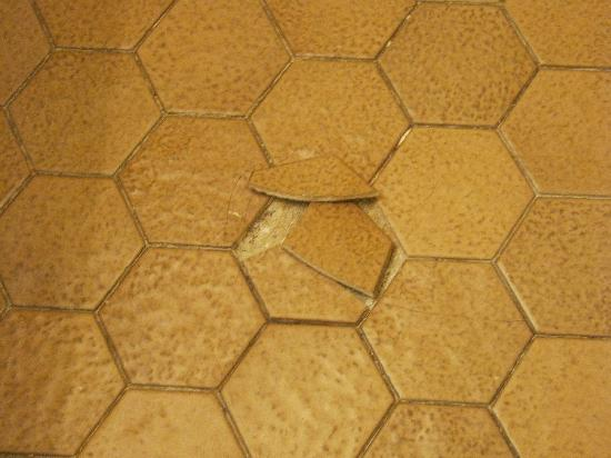 Villa Roma Resort and Conference Center: One of many broken bathroom tiles.  That's not only ugly, it's unsafe.