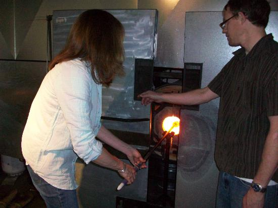 Studio West Glassblowing Studio and Gallery: Conrad & I making my bowl!