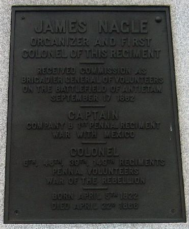 Plaque on Brigadier General James Nagle's statue, Antietam National Battlefield, Sharpsburg MD