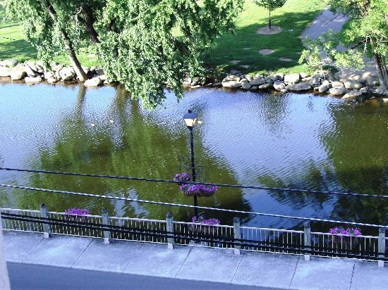Riverside Towers: Our view of the Little Pigeon River, from our balcony.