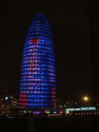 Novotel Barcelona City: The night time view.
