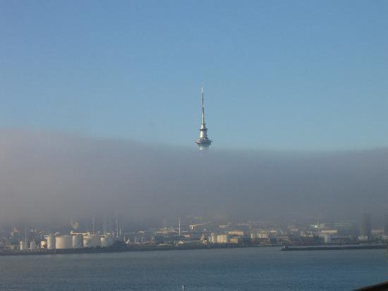 Number One House: Sky Tower in the fog from #1 House