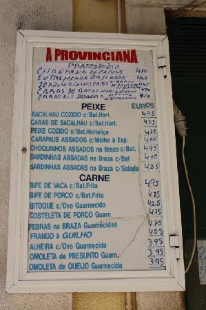 Estremadura, Portugal: Price list - menu