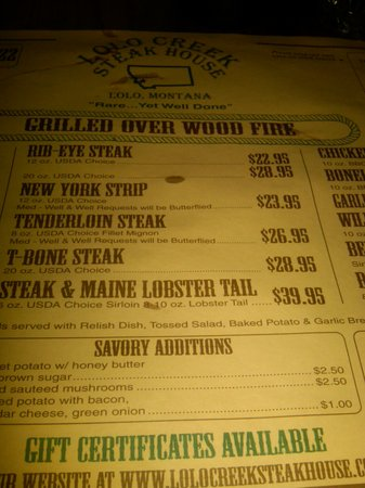 Lolo Creek Steakhouse: Menu 2