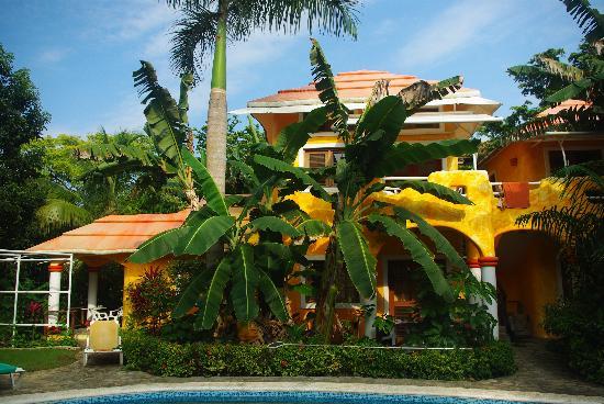 Secret Garden: Blick vom Pool auf drei der fünf Zimmer