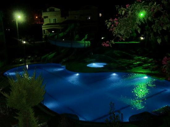 Palm Garden Apartments: All lit up.