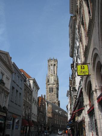 View of the Belltower from just outside Hotel Erasmus (on the right)