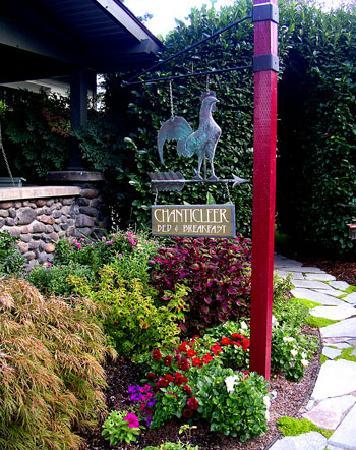 Chanticleer Inn B&B: Chanticleer Inn sign in front of the river stone porch.