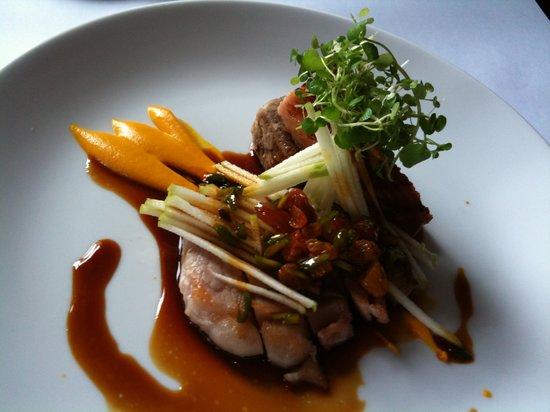 The Press Club : Pig - Bangalow pork, baklava, loin, belly, apple horiatiki