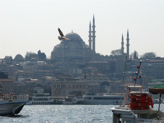 Istanbul, Turkiet: Vue de la mosquée yeni depuis le pont de galata