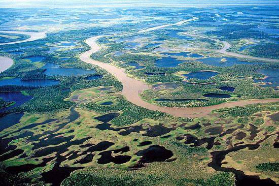Aklavik, Canada: Aerial Photograph of the Mackenzie Delta