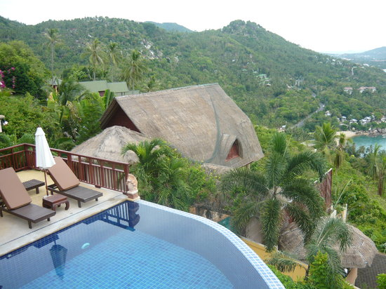 Sandalwood Luxury Villas: View of pool from balcony