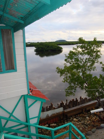 Sharky's Reef Hotel: view of lagoon and Pumpkin Hill from balcony stairway