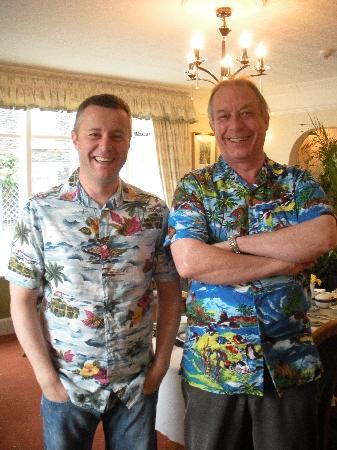 mylne bridge house: Jim (your host) on the right plus my husband Jeff in their Hawaiian shirts at breakfast!