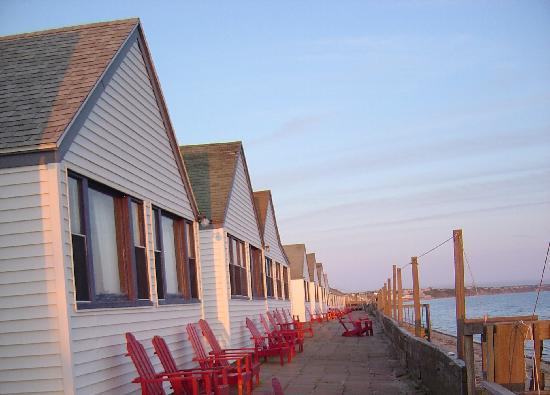 Oceana Cottages: Just before sunset on the terrace