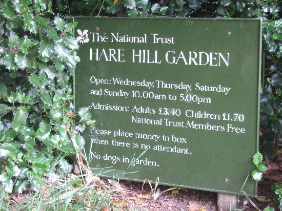 Hare Hill Park and Gardens.: Hare Hill garden sign.