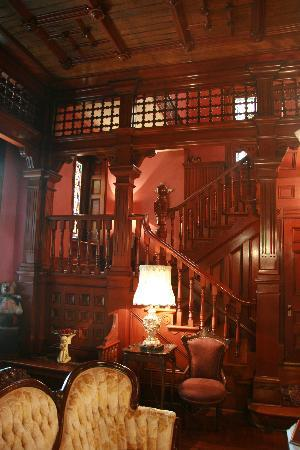 1884 Wildwood Bed and Breakfast Inn: the cherrywood staircase from the Ballroom