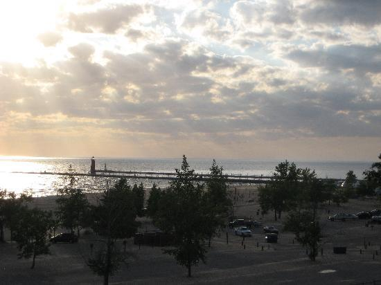 Grand Haven, MI: Sunset over the pier- taken from the deck