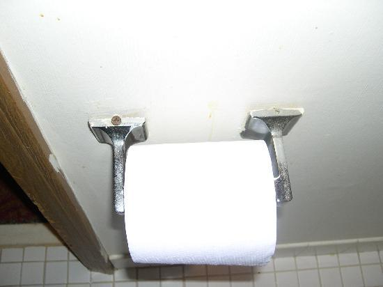 Fairview Inn : upside down and wrong screw in toilet paper roll holder.