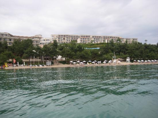 Ikos Oceania: View of hotel complex from pedalo