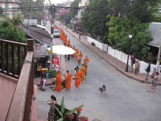 Villa Champa: View from balcony with morning monks