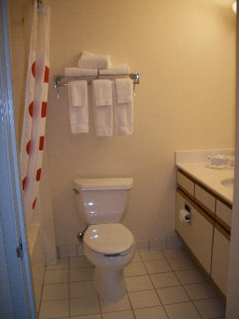 TownePlace Suites Sioux Falls: The bathroom with 2 drawers in the vanity plus storage underneath