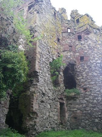 Drochil Castle Farmhouse: The ruins of a 1500's castle in the backyard