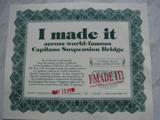 """Capilano Suspension Bridge und Park: My """"I made it"""" Certificate"""