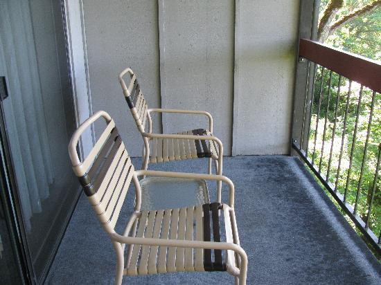 "Riverside Inn: Our ""deluxe"" balcony chairs"