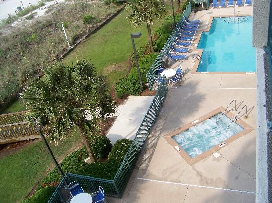 The Verandas: View of Hot Tub and Pool from Balcony