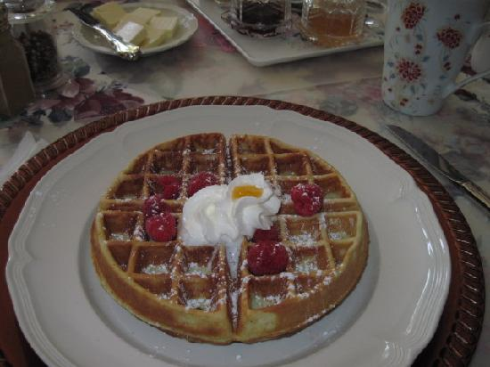 Butler Creek Hot Tubs and Suites Bed and Breakfast: Raspberries on the Pistachio Belgian Waffle on Day 2
