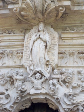 San Antonio, TX: Detail at the entrance of church at Mission San Jose
