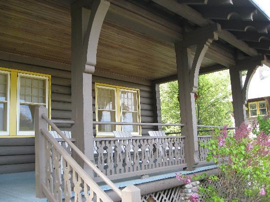 Belton Chalet: porch area of one of the cottages-a great place to sit and relax