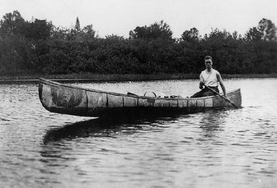Roosevelt Campobello International Park: Young Franklin in a canoe made by Passamaquoddy Indians