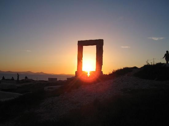 Naxos Town, Greece: Sunset through the Portara (AKA Palatia) Temple of Apollo, Naxos, Greece