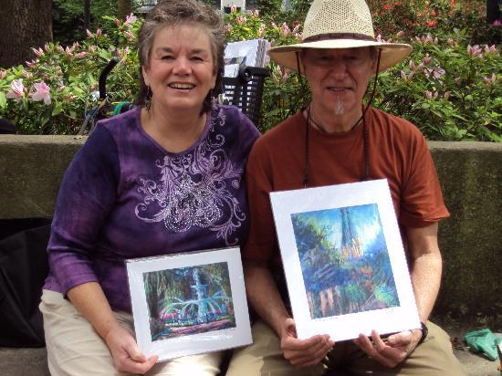 Bonnie Blue Walking Tours of Savannah: Paul Alico (street artist) & his wife--talented guy, buy his stuff if you run in to him.