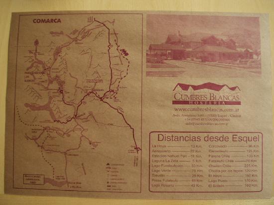 Hosteria Cumbres Blancas: Individual de mesa con mapa