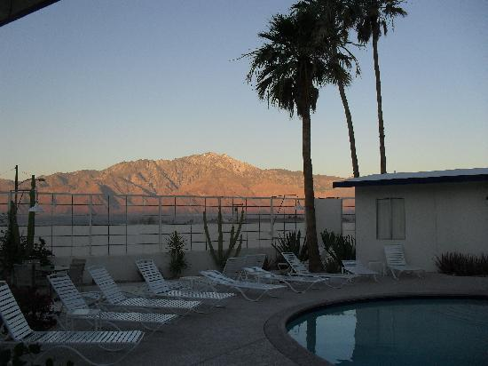 Living Waters Clothing-optional Spa: Sunrise view of Mt. Jacinto