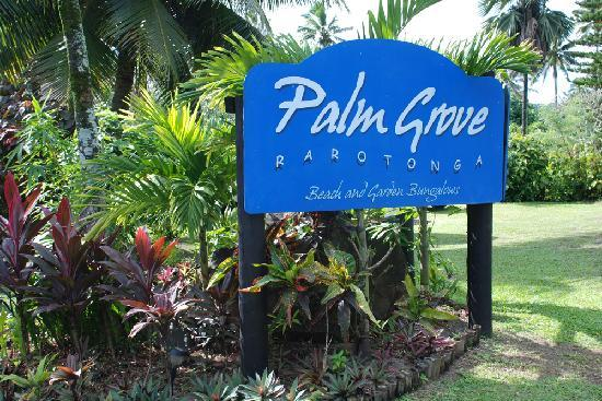 Vaimaanga, Cook Islands: Palm Grove sign