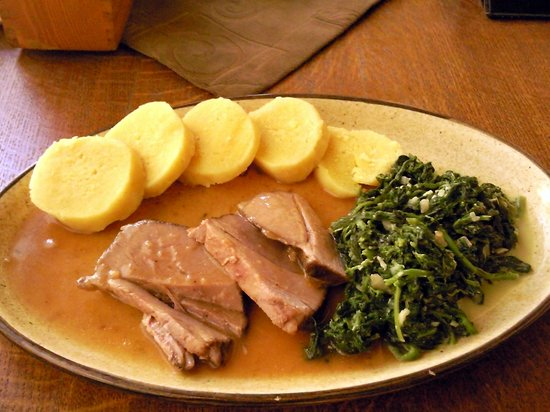 Plzensky restaurant Andel : Bacon Larded Leg of Lamb roasted on thyme, served with spinach leaf and potato dumplings (CZK 15