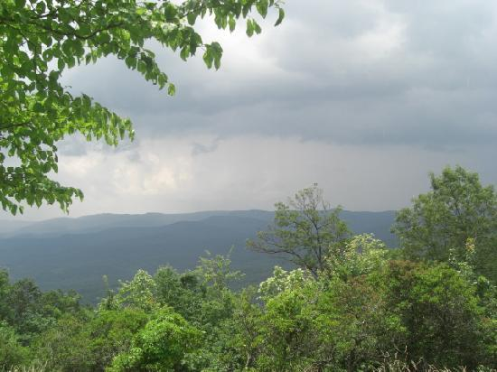 Amicalola Falls State Park: View of a rain cloud approaching from the porch of Amicalola Lodge