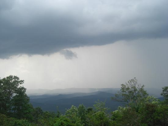 Amicalola Falls State Park: Rain in the distance - view from the porch of Amicalola Lodge