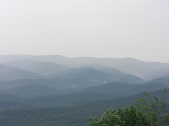 Amicalola Falls State Park: Steam rising off the mountains - view from Amicalola Lodge porch