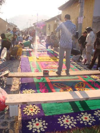 "Camino Real Antigua: ""Semana Santa"" Carpets outside of Hotel"
