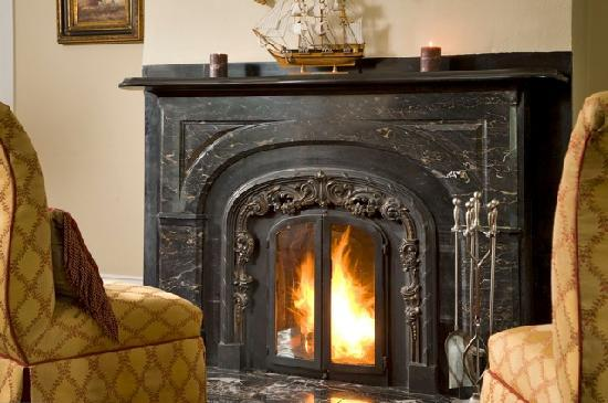 Original 1840 Black Marble Fireplace Picture of Captain