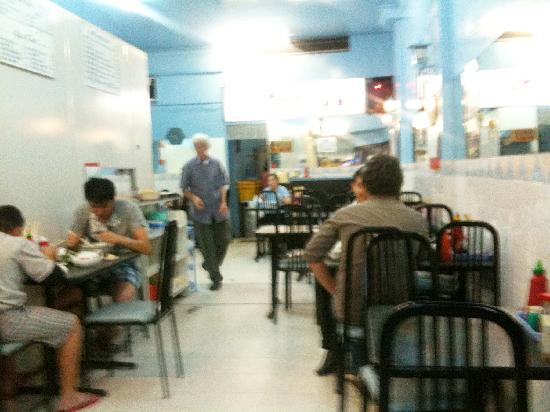 Pho 54: Inside of store - cosy two rows, kitchen is behind wall on the left