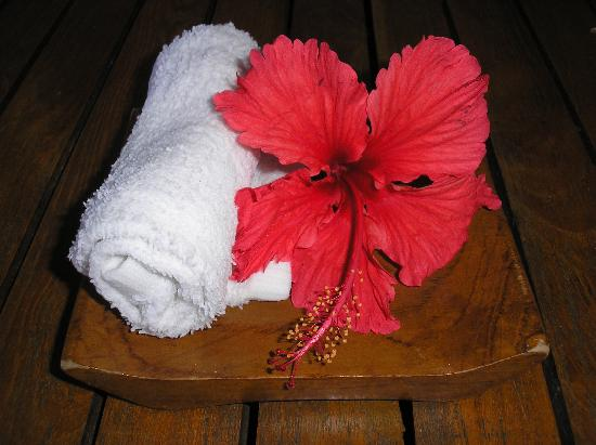 Royal Davui Island Resort: cold scented towel and flower on arrival