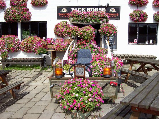 The Pack Horse Inn: the landlady playing with flowers - she called it her 'timemachine'