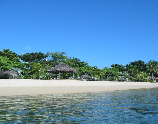 Savaii Lagoon Resort beach from the water.