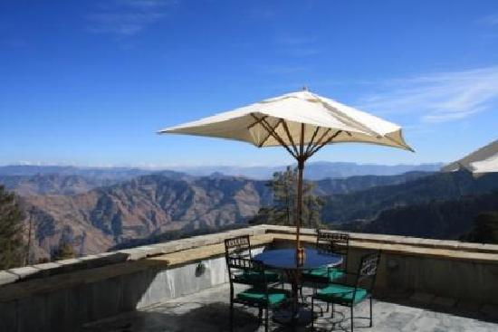 Wildflower Hall, Shimla in the Himalayas: The gorgeous view from the outdoor area of the restaurant